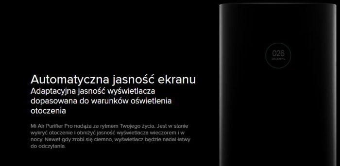 Automatyczna jasność ekranu - Xiaomi oczyszczacz powietrza