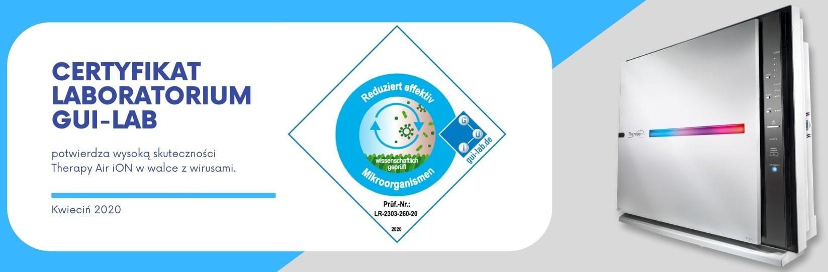 Certyfikat oczyszczanie powietrza, jony ujemne