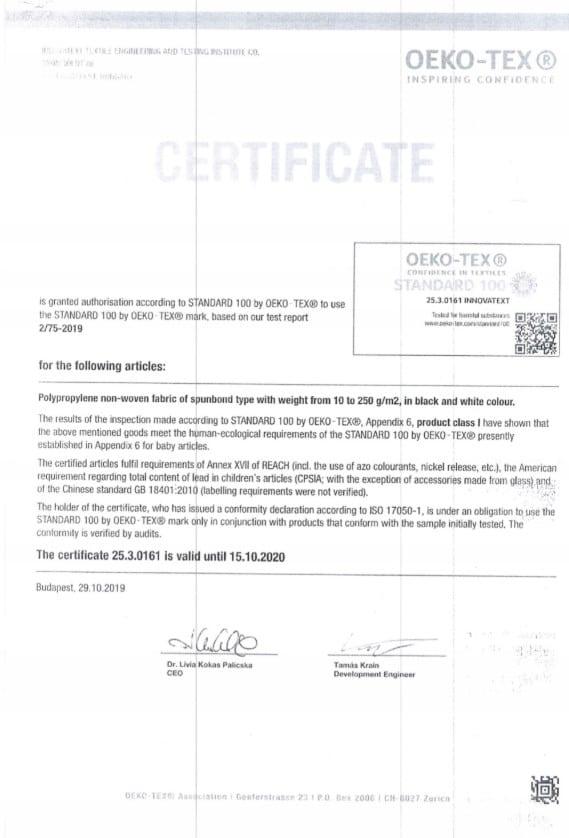 certyfikat dla maski