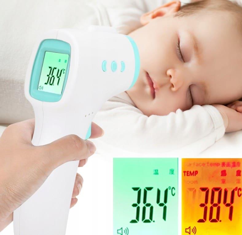 TERMOMETR BEZDOTYKOWY NA PODCZERWIEŃ -mierzenie dziecku temperaturyE