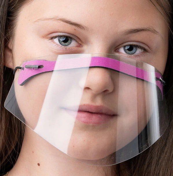 Maseczka dziecięca mini przyłbica na nos i usta różowa